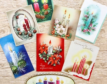 8 Vintage Candle Christmas Cards, Christmas Candles, Midcentury Cards, 1940s-1960s Candle Christmas Cards: Set #2