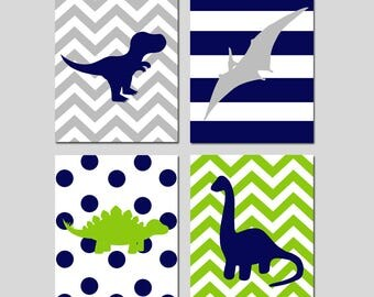 Dinosaur Nursery Art Dinosaur Nursery Decor Dinosaur Decor Dinosaur Wall Art Dinosaur Print Set of 4 Dinosaur Prints - CHOOSE YOUR COLORS