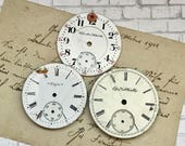Vintage Metal & Porcelain POCKET Watch Faces (3) for Steampunk and Altered Art Numbers- Watch Dials- A31