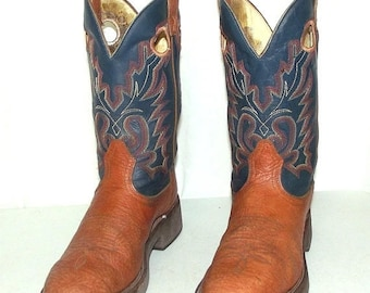 Blue and Tan Boulet brand Cowboy boots size mens 9 E / womens 10.5 wide width