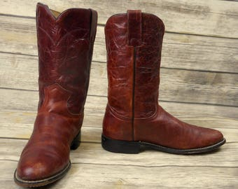 Womens Size 7 B Justin Cowboy Boots Brown Leather Roper Country Western Shoes