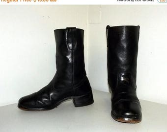 Black leather cowboy boots - size 8 D or cowgirl size 9.5