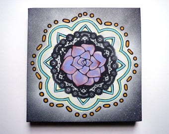 Purple Succulent Cactus Flower Painting, Papel Picado, Talavera, mandala art, small artwork, Mexican, Dia de Los Muertos, Day of the Dead
