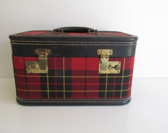 Vintage Train Case Red Plaid Black Leather Trim Camp Style Luggage Weekend Travel Storage