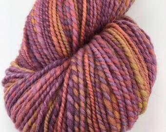 """Handspun Sport Yarn """"Sun Flares"""" 230 yds Merino Silk"""