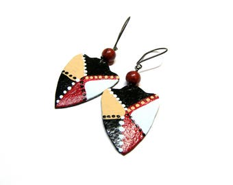 ON SALE Leather Earrings Handpainted Earrings painted leather Geometric Earrings Tribal Modern triangle earrings Gifts for Women