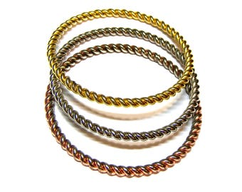 Tri color bangles vintage bangle bracelets gift for her Christmas gift Copper Silver Gold Set of bangle bracelets