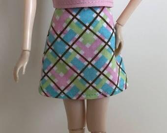 "Handmade A-line Skirt fits dolls like Momoko, 12"" Pullip, Blythe, Skipper, Moxie Designs by P. D. Reneau (S629)"