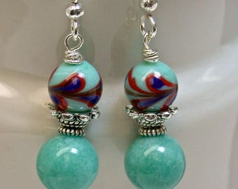 Vintage Amazonite Aqua Stone Dangle Bead Earrings, Vintage Japanese Aqua Red Cobalt Blue Glass Beads,Silver French Ear Wires