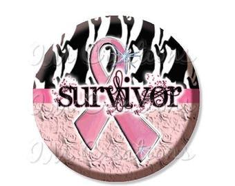 "25% OFF - Breast Cancer Awareness Survivor - Pocket Mirror, Magnet or Pinback Button - Fundraiser, Events, Gifts - 2.25"" - MR468"
