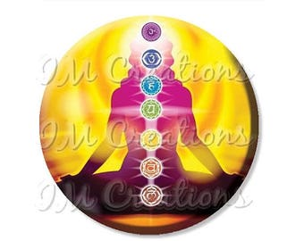 "20% OFF - Yoga Chakras Pocket Mirror, Magnet or Pinback Button - Wedding Favors, Party themes - 2.25"" MR454"