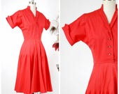 Vintage 1950s Dress  - Classic Cherry Red 50s Cotton Shirtwaist Style Day Dress by Jonathan Logan
