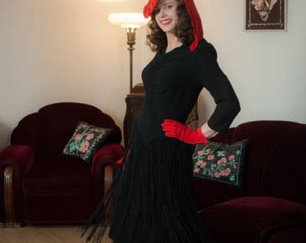 50% CLEARANCE Vintage 1940s Dress - Enchanting Curve Hugging Black Rayon New York Creation 40s Cocktail Dress with Long Fringed Skirt