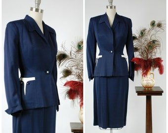 Vintage 1950s Suit - Rich Navy Blue Gabardine 50s Ladies Suit with White Accents and Low Gorge