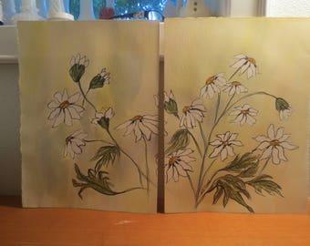 pair original paintings / daisy paintings / original watercolors / signed watercolors / unframed watercolor paintings / 1980s painting