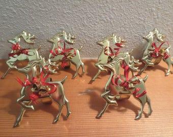Set of 6 Stamped Reindeer Napkin Rings / Goldtone stamped reindeer napkin rings