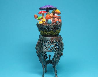 Collector Miniature 1:12 Scale  WITCH'S indoor  MUSHROOM GARDEN in Plant Stand ooak