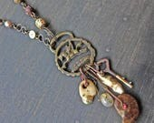 """Rustic cluster recycled antique necklace by fancifuldevices - """"Concatenation"""""""