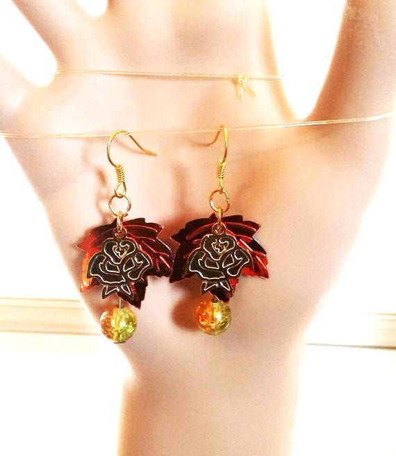 orange leaf glass drop earrings dangles leaves charms sequin leaf handmade jewelry