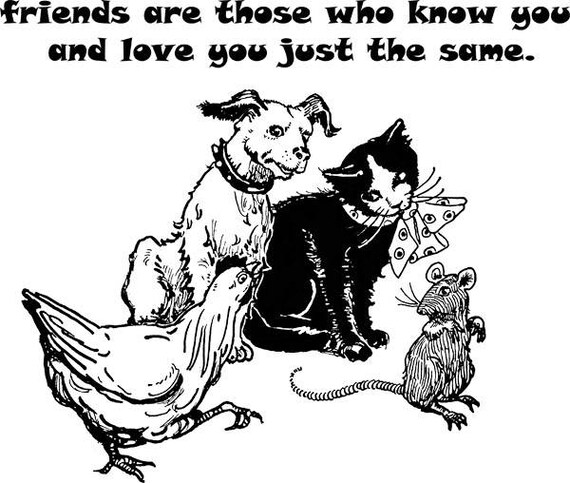 animals BFF pets best friends printable wall art clipart PNG Digital stamp black line art Image Download graphics chicken cat dog rat