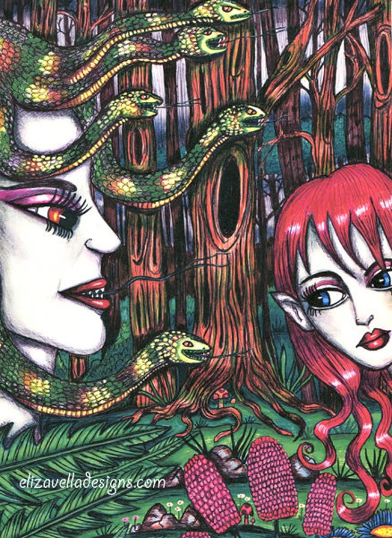 Medusa elf Friendship print original art ink drawings fantasy beasts snake creatures trees artwork