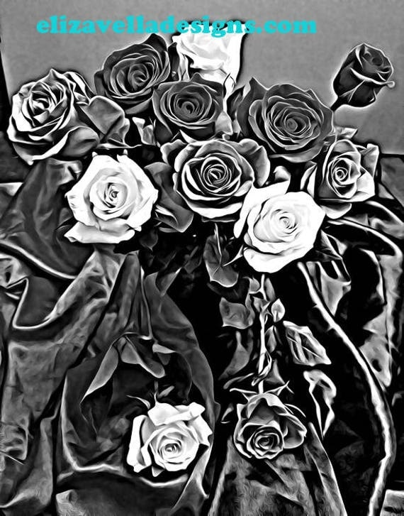 Black And White Roses on black Silk fabric Abstract still life original digital Art painting graphics images downloads livingroom bedroom