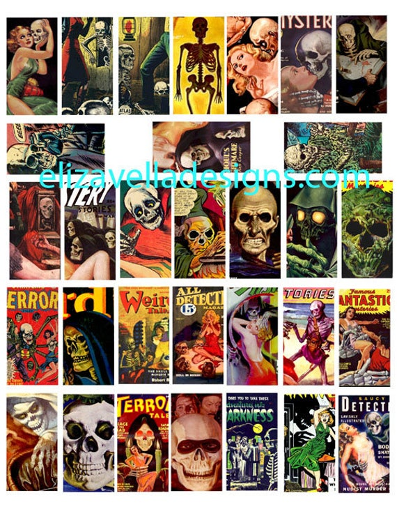 day of the deads skull skeletons art comics domino collage sheet digital download 1 BY 2 inch graphics images for pendants pins magnets