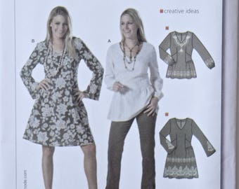 BURDA Easy Sewing Pattern 7939 Misses' Tunic Blouse and Dress Semi Fitted with Long Sleeves UNCUT Factory Folds Sizes 8-20