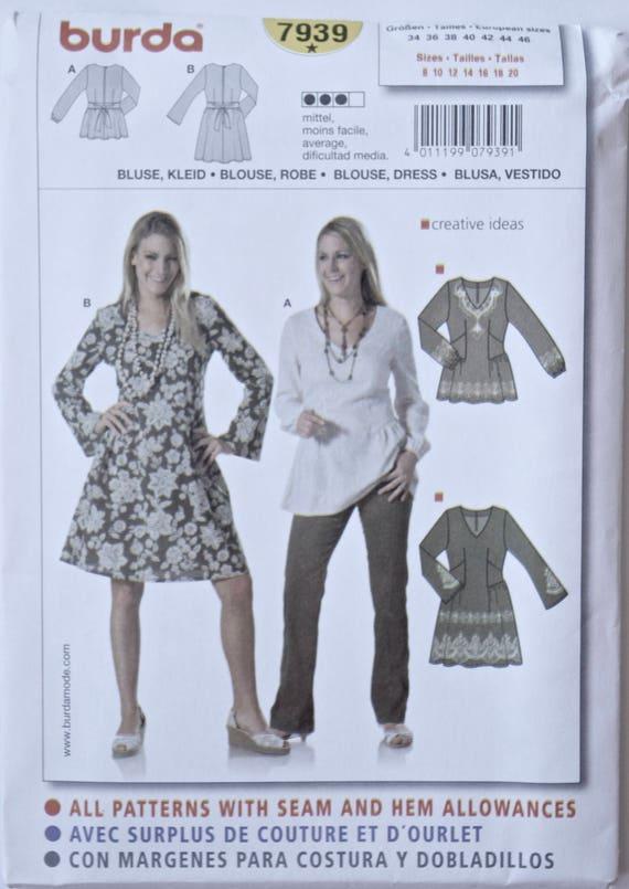 BURDA einfach nähen Muster 7939 Misses Tunika Bluse und Kleid