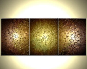 Abstract Gold Palette Knife Painting Original Metallic Textured  - 24X54 Lafferty, SALE 22% Off