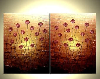 Original Flowers Painting Abstract Impasto Gold Red Roses Poppies Art, Textured Palette Knife Painting by Lafferty - 24X36