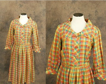 3 Day SALE vintage 50s Dress - 1950s Day Dress - Citrus Plaid Dress Sz S