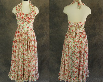 vintage 70s Backless Sun Dress - 1970s Floral Gauze Ruffled Halter Dress Sundress Sz S
