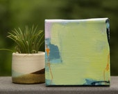 Mini Abstract Landscape Painting, Original Tiny Painting, Small 4x4, Abstract Art, Miniature, Small Art, Mini Painting, Apartment Decor