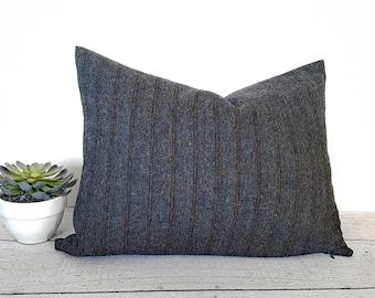 Grey Herringbone Wool Pillows, Grey Brown Lumbar Pillow, Charcoal Herringbone Pillow Cover, Grey Textured Pillow, 14x20 Oblong Pillow, NEW