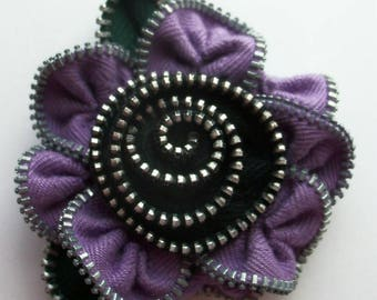 Violet and BlackFloral Brooch / Zipper Pin by ZipPinning 3092