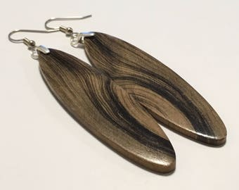Large Ancient Wood 165000 Year Old Wood Earrings