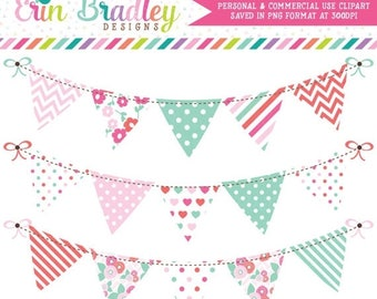 80% OFF SALE Floral Clipart Bunting Set with Pink & Aqua Blue Flowers Stripes Polka Dots Commercial Use Banner Graphics