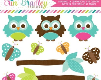 80% OFF SALE Owl Clipart Clip Art Personal & Commercial Use with Blue Green Brown Butterflies and Branches