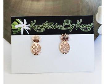 Rose Gold Pineapple Stud Earrings