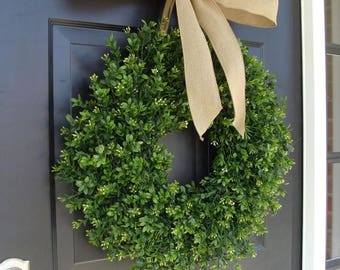 SUMMER WREATH SALE Thin Boxwood Wreath- Fall Door Wreath- Artificial Boxwood- Spring Wreath- Wall Art- Wedding Wreath- Wedding Decor