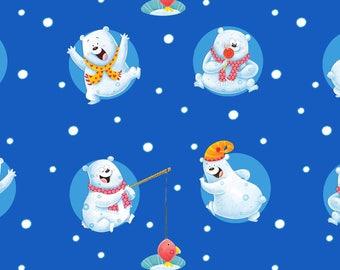 Christmas Fabric, Penguins on Parade Polar Bears Tossed Medium Blue Background Cotton Fabric