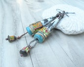 Recycled Tin Earrings, Rustic Cigar Tin Cone Earrings, Handmade, Colorful Summer Dangles with Handmade Beads