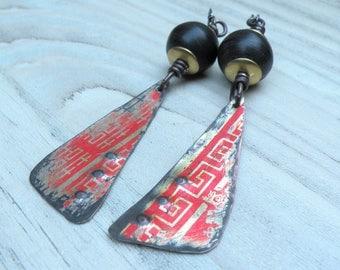 Vintage Tin Earrings, Red and Black Earrings, Long Earrings, Recycled Jewelry, Handmade, Rustic, Lightweight, Asian Meander