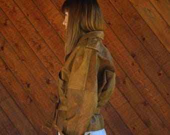 20% off SUMMER SALE. . . Brown Leather Aviator Crop Jacket with Tie Front - Vintage 80s - S M