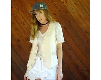 20% off SUMMER SALE. . . Woven Cotton Boho Button Down Vest - Vintage 90s - S/M