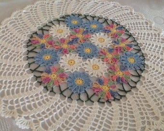 Hand Crocheted,Spring Doily, NEW, made by DEMET
