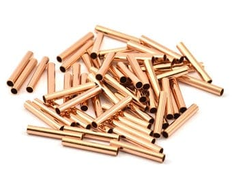 Rose Gold Plated Tube Beads, 12 Rose Gold Plated Brass Tubes (3x20mm) Bs 1440 Q052
