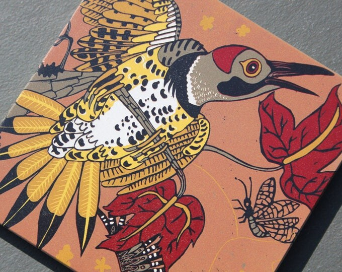 """Woodpecker, flicker, print on wood, 6"""" x 6"""" square ready to hang"""