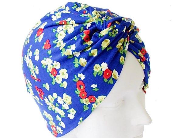 Turban Hat Floral Print Turban Stretch Doo Rag Chemo Cap Skullcap Soft Packable Turban Beach Hair Wrap Tichel Hijab Head Scarf 1940s Turban